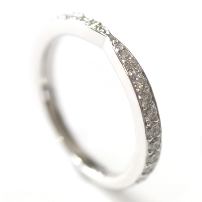 18ct White Gold Diamond Fitted Wedding Ring to Trilogy Halo Engagement Ring 5.jpg