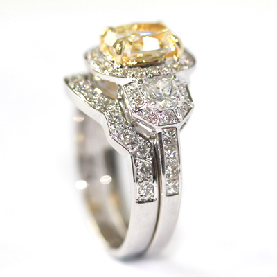 18ct White Gold Diamond Fitted Wedding Ring for Trilogy Halo Engagement Ring 5.jpg