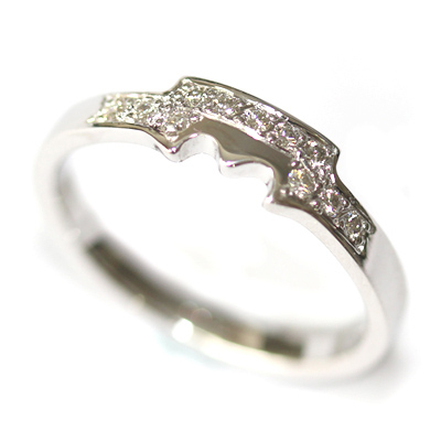 18ct White Gold Diamond Set Fitted Wedding Ring for a Solitaire Engagement Ring 5.jpg