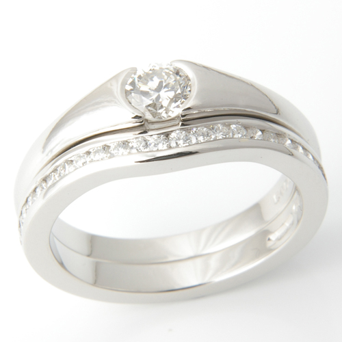 Platinum Half Eternity Diamond Set Fitted Wedding Ring.jpg