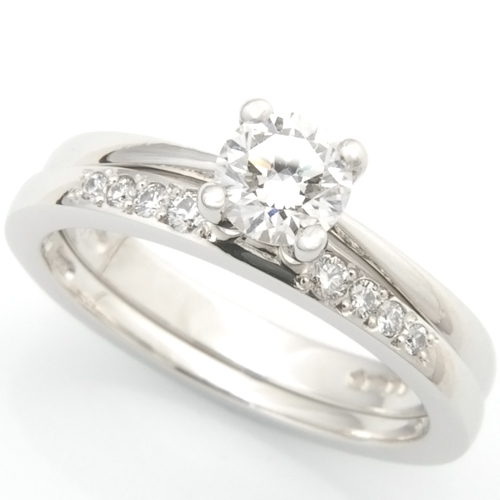 Platinum Diamond Set Fitted Wedding Ring to Solitaire Engagement Ring.jpg