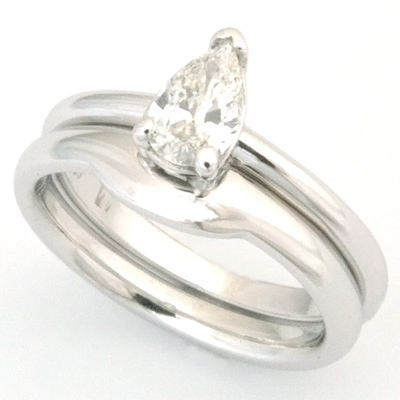 18ct White Gold Fitted Wedding Ring to Pear Cut Diamond Engagement Ring 1.jpg