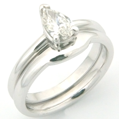18ct White Gold Fitted Wedding Ring to Pear Cut Diamond Engagement Ring 3.jpg