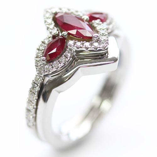 18ct White Gold Plain Fitted Wedding Ring to Ruby Trilogy Engagement Ring.jpg