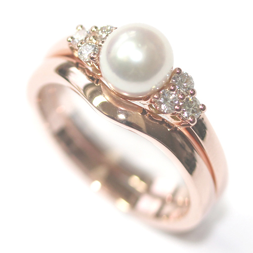 9ct Rose Gold Pearl and Diamond Engagement Ring and Fitted Wedding Ring.jpg
