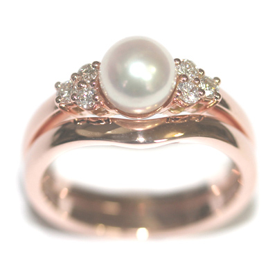 9ct Rose Gold Pearl and Diamond Engagement Ring and Fitted Wedding Ring 4.jpg