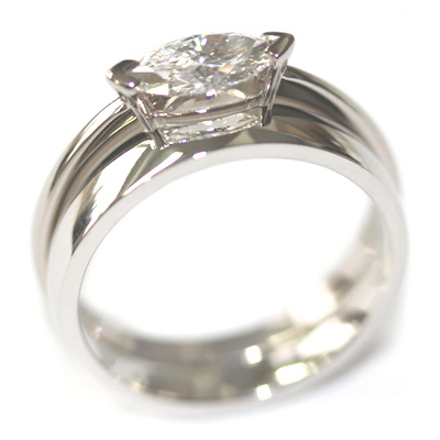 Platinum Fitted Wedding for a Solitaire Marquise Engagement Ring 3.jpg