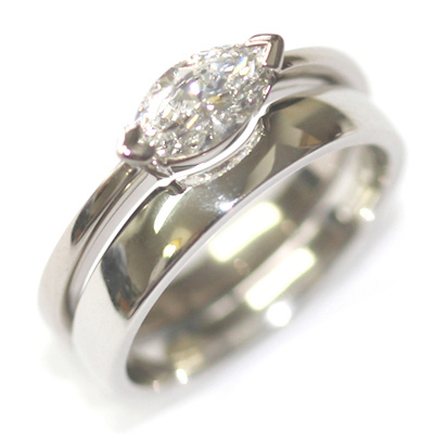 Platinum Fitted Wedding for a Solitaire Marquise Engagement Ring 4.jpg