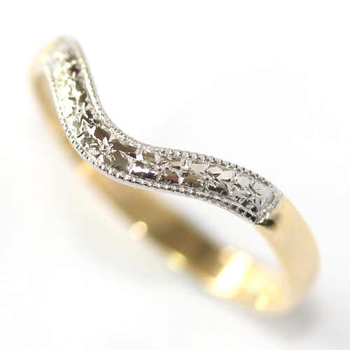 Yellow and White Gold Engraved Fitted Wedding Ring.jpg