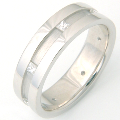 Palladium Channel Set Princess Cut Diamond Wedding Ring 1.jpg