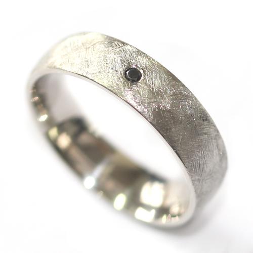 Palladium Gents Wedding Ring with a Black Diamond and Brushed Finish 1.jpg