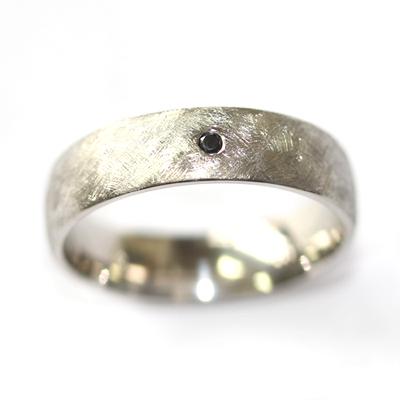 Palladium Gents Wedding Ring with a Black Diamond and Brushed Finish 2.jpg