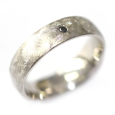 Palladium Gents Wedding Ring with a Black Diamond and Brushed Finish 4.jpg