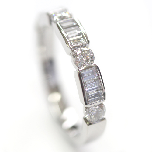 Platinum Round Brilliant Cut and Baguette Cut Diamond Eternity Ring 1.jpg