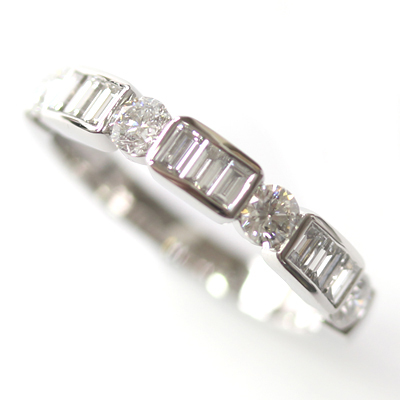 Platinum Round Brilliant Cut and Baguette Cut Diamond Eternity Ring 4.jpg