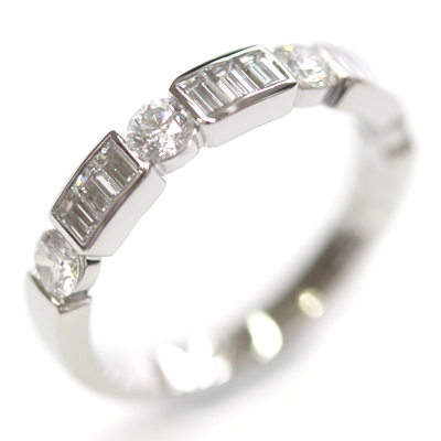 Platinum Round Brilliant Cut and Baguette Cut Diamond Eternity Ring 5.jpg