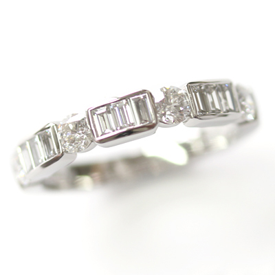 Platinum Round Brilliant Cut and Baguette Cut Diamond Eternity Ring 6.jpg