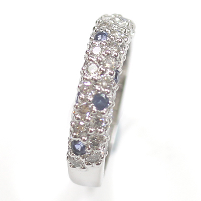 18ct White Gold Diamond and Sapphire Pave Set Eternity Ring 2.jpg