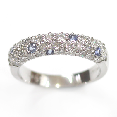 18ct White Gold Diamond and Sapphire Pave Set Eternity Ring 4.jpg
