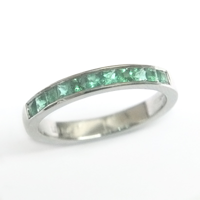 Platinum Princess Cut Emerald Eternity Ring 2.jpg