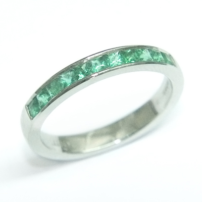 Platinum Princess Cut Emerald Eternity Ring 1.jpg