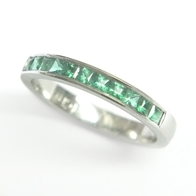 Platinum Princess Cut Emerald Eternity Ring 3.jpg