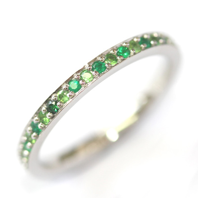 Platinum Tsavorite and Emerald Eternity Ring 1.jpg