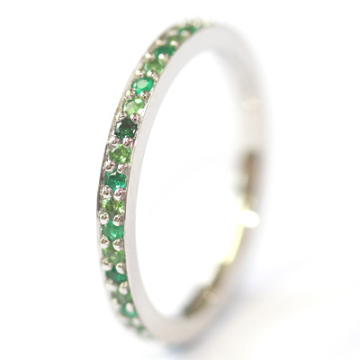 Platinum Tsavorite and Emerald Eternity Ring 4.jpg
