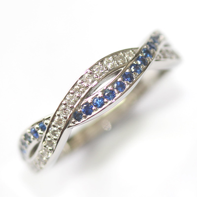Platinum Sapphire and Diamond Twist Eternity Ring 1.jpg