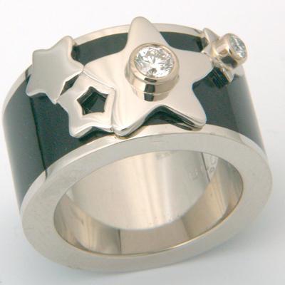Platinum Diamond and Black Enamel Engagement Ring 1.jpg