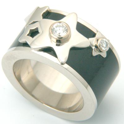 Platinum Diamond and Black Enamel Engagement Ring 2.jpg