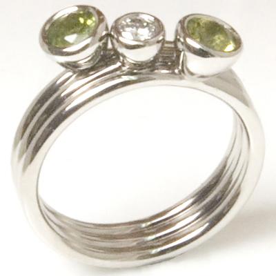 Palladium Diamond and Peridot Stacking Rings 1.jpg
