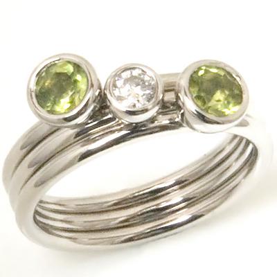 Palladium Diamond and Peridot Stacking Rings 2.jpg