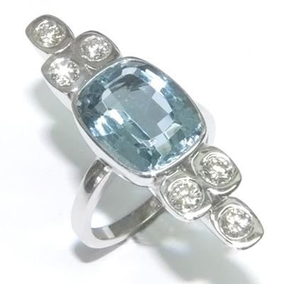 9ct White Gold Aquamarine and Diamond Cocktail Ring 1.jpg