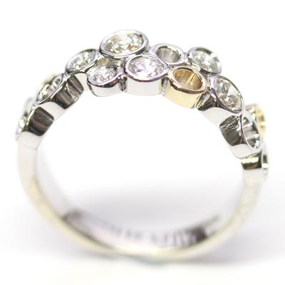 9ct White and Yellow Gold Multi Circle Diamond Dress Ring 2.jpg