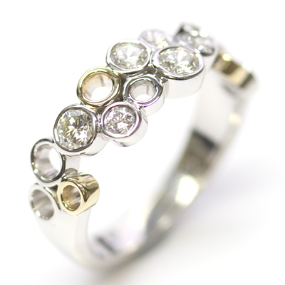 9ct White and Yellow Gold Multi Circle Diamond Dress Ring 4.jpg