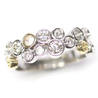 9ct White and Yellow Gold Multi Circle Diamond Dress Ring 8.jpg