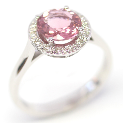9ct White Gold Pink Tourmaline and Diamond Halo Ring.jpg