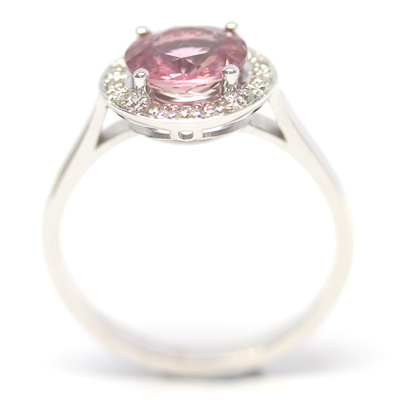9ct White Gold Pink Tourmaline and Diamond Halo Ring 4.jpg