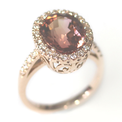 Rose Gold Tourmaline and Diamond Dress Ring 2.jpg