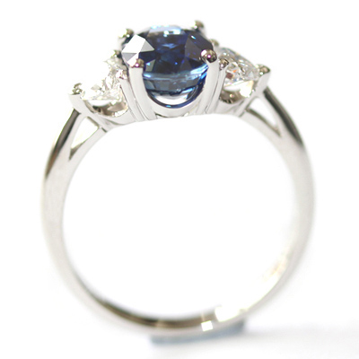 Platinum Oval Cut Sapphire and Diamond Trilogy Dress Ring 2.jpg