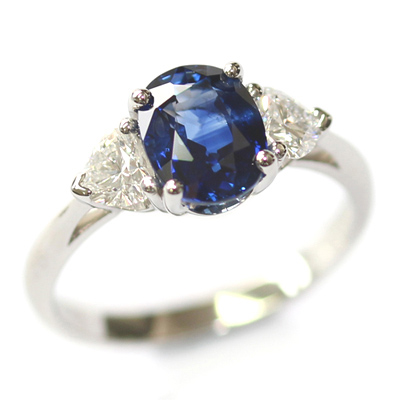 Platinum Oval Cut Sapphire and Diamond Trilogy Dress Ring 1.jpg