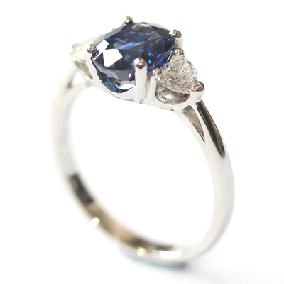 Platinum Oval Cut Sapphire and Diamond Trilogy Dress Ring 4.jpg