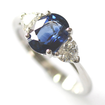 Platinum Oval Cut Sapphire and Diamond Trilogy Dress Ring 5.jpg