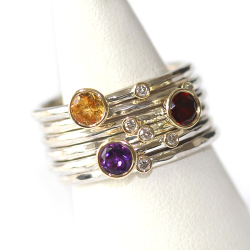 Citrine, Garnet, Amethyst and Diamond Stacking Rings.jpg