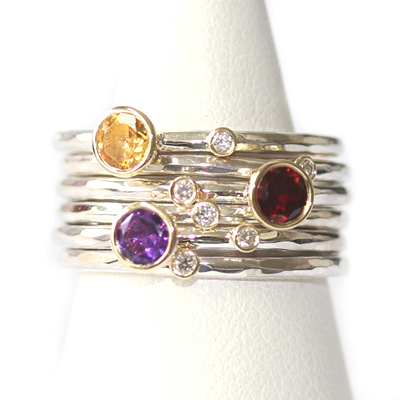 Citrine, Garnet, Amethyst and Diamond Stacking Rings 2.jpg