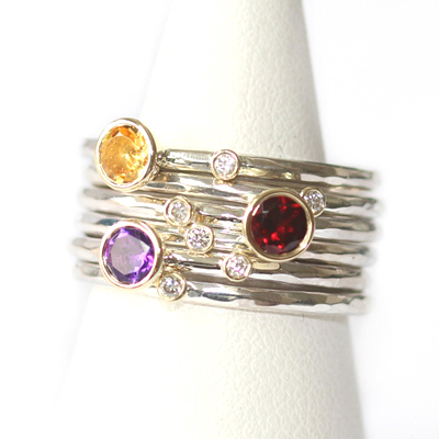 Citrine, Garnet, Amethyst and Diamond Stacking Rings 3.jpg