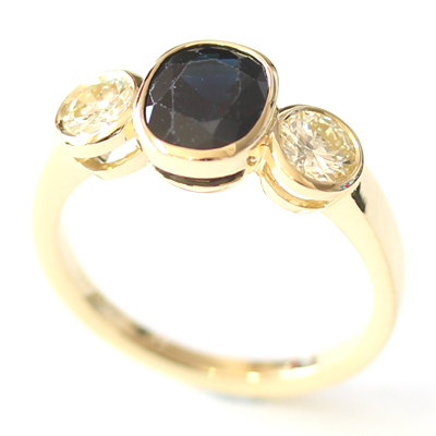 18ct Yellow Gold Black Sapphire and Diamond Trilogy Ring 3.jpg