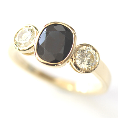 18ct Yellow Gold Black Sapphire and Diamond Trilogy Ring 1.jpg