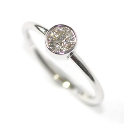 9ct White Gold Solitaire Rub Set Diamond Dress Ring 1.jpg